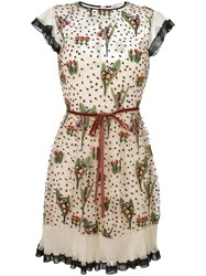 Red Valentino Floral Print Dress Nude Neutrals
