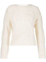 Roberto Collina Chunky Floral Knit Jumper Neutrals