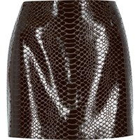 River Island Womens Brown Snake Print Pelmet Mini Skirt