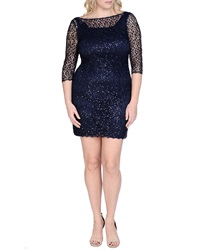 Kay Unger New York Women's Beaded And Sequined Lace Cocktail Dress Navy Women's
