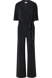 By Malene Birger Zhou Belted Wrap Effect Stretch Jersey Jumpsuit Black