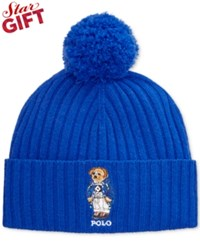 Polo Ralph Lauren Ski Bear Pom Knit Cuffed Beanie Deep Royal