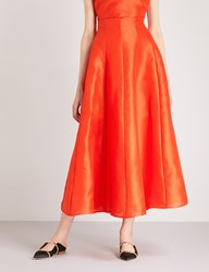 Merchant Archive A Line Silk Midi Skirt Orange