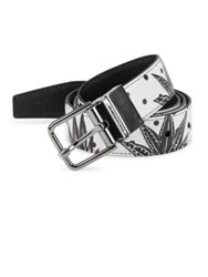 Dolce And Gabbana Reversible Printed Leather Belt Black White Print