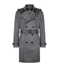 Burberry Kensington Cashmere Trench Coat Male Grey