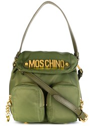 Moschino Logo Plaque Backpack Tote Green