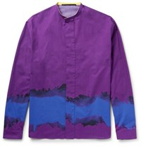 Haider Ackermann Grandad Collar Printed Cotton Shirt Purple