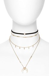 Topshop Horn Pendant Multistrand Necklace And Choker Black