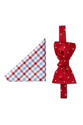 Tommy Hilfiger Stripe And Dot Silk Bow Tie And Pocket Square Set Red