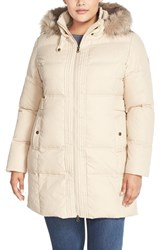 Plus Size Women's Larry Levine Hooded Down And Feather Fill Coat With Faux Fur Trim Parchment