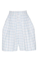 Vika Gazinskaya High Waisted Pleated Checkered Shorts White