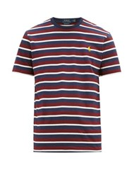 Polo Ralph Lauren Logo Embroidered Striped Cotton Jersey T Shirt Burgundy
