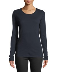 Majestic Cathy Crewneck Cotton Cashmere Top Marine