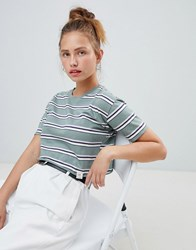Pull And Bear Stripe Crop Top Green