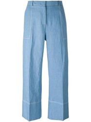 Ermanno Scervino Wide Legged Cropped Trousers Blue
