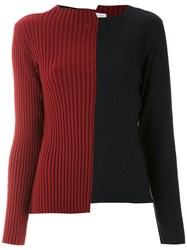 Mara Mac Color Block Asymmetric Sweater Blue