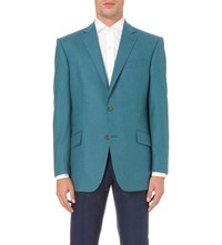 Richard James Contemporary Fit Brushed Wool Blazer Teal