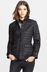 Women's Burberry Brit 'Lunesbury' Leather Trim Quilted Jacket Black