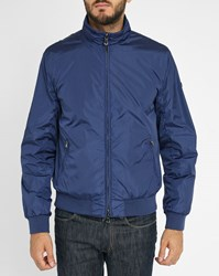 Hackett Blue Shoulder Logo Waterproof Baseball Jacket