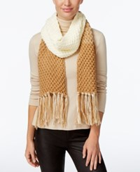 Rampage Colorblock Fringe Scarf Only At Macy's Camel Ivory