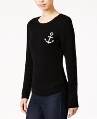 Maison Jules Anchor Patch Sweater Deep Black