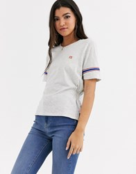Maison Scotch Soft Rib T Shirt With Sporty Detailing Grey