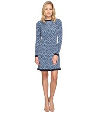 Michael Michael Kors Textured Bayeux Long Sleeve Dress Blue Indigo Women's Dress
