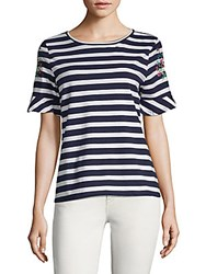 August Silk Two Tone Striped Tee Navy White