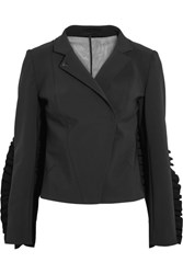 Paskal Tulle Paneled Ruffle Trimmed Cady Jacket Black