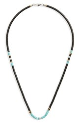 Link Up Men's Disc Turquoise Bead Necklace Black