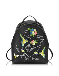 Love Moschino Black Canvas And Black Eco Leather Backpack W Embroidery I You