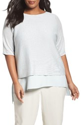 Eileen Fisher Plus Size Women's Organic Linen Bateau Neck Crop Sweater Rain