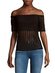 Kendall Kylie Cutout Off The Shoulder Top Black