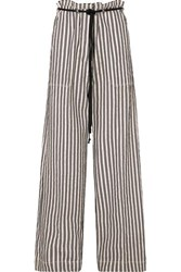 Ann Demeulemeester Belted Striped Cotton And Ramie Blend Wide Leg Pants Ecru