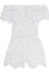 Miguelina Off The Shoulder Cotton Guipure Lace Playsuit White