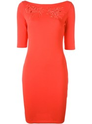 Blumarine Boat Neck Fitted Dress Red
