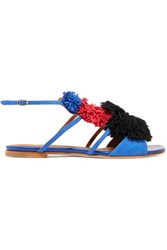 Malone Souliers Sherry Tassel Trimmed Suede Sandals Bright Blue