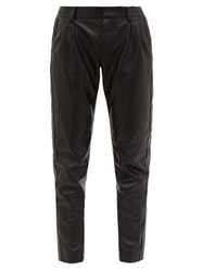 Saint Laurent Tapered Leather Trousers Black