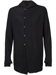 The Viridi Anne Off Center Buttoned Hoody Black