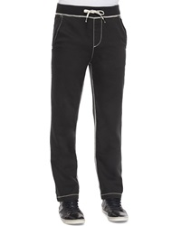 True Religion Contrast Stitch Knit Sweatpants Black