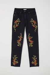 Handm Jeans With Embroidery Black