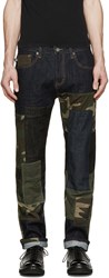 Mostly Heard Rarely Seen Indigo And Camouflage Patchwork Jeans