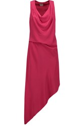 Haute Hippie Draped Asymmetric Silk Dress Bright Pink
