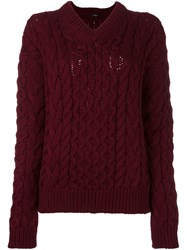 Joseph Cable Knit Jumper Red