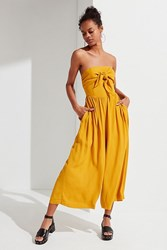 Urban Outfitters Uo Candy Tie Front Jumpsuit Mustard