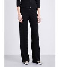 Armani Collezioni High Rise Wide Leg Cady Trousers Black