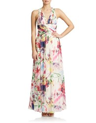 Hailey Logan Floral Halter Gown Ivory Floral
