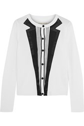 Alice Olivia Sarin Trimmed Wool Cardigan White
