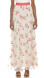 Alice Olivia Adair Wildflower Tulle Maxi Skirt Off White Red Nude