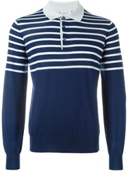 Brunello Cucinelli Striped Polo Sweater Blue